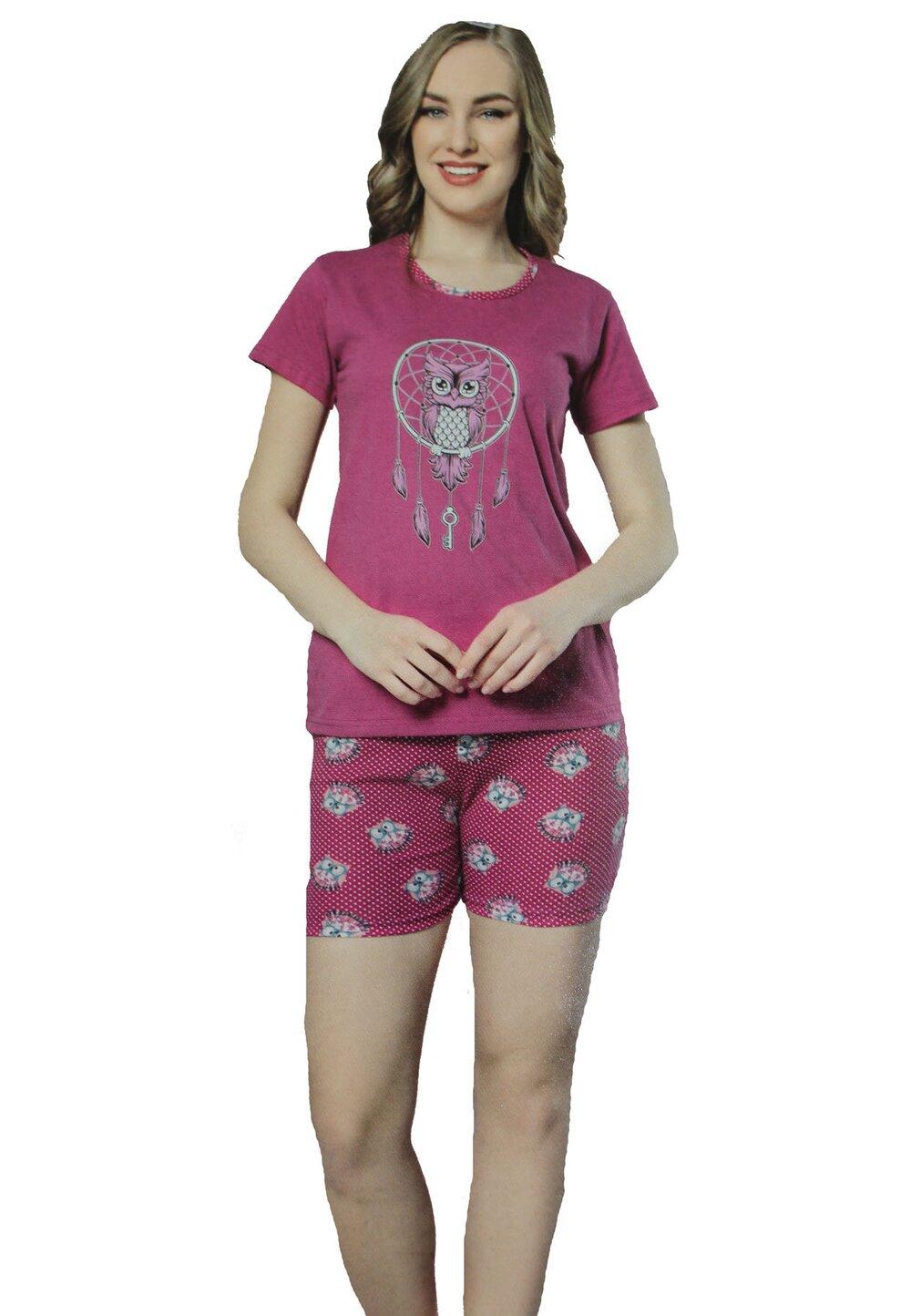 Pijama maneca scurta, Bufnita, mov imagine