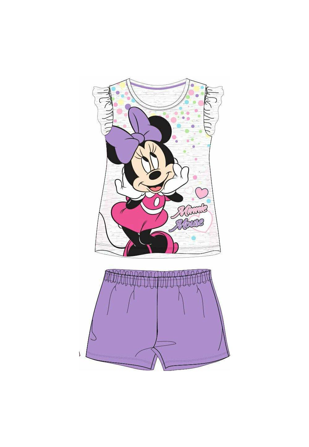 Pijama maneca scurta, gri cu buline colorate imagine