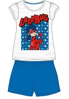 Pijama, maneca scurta, Ladybug, albastru