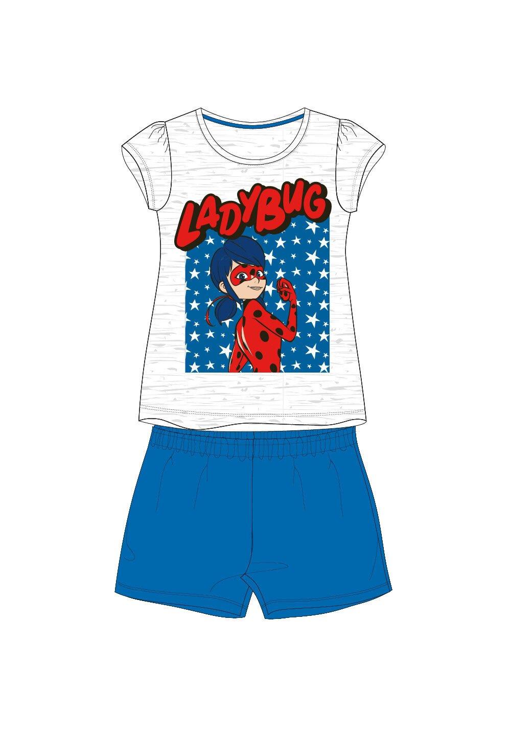 Pijama, maneca scurta, Ladybug, albastru imagine