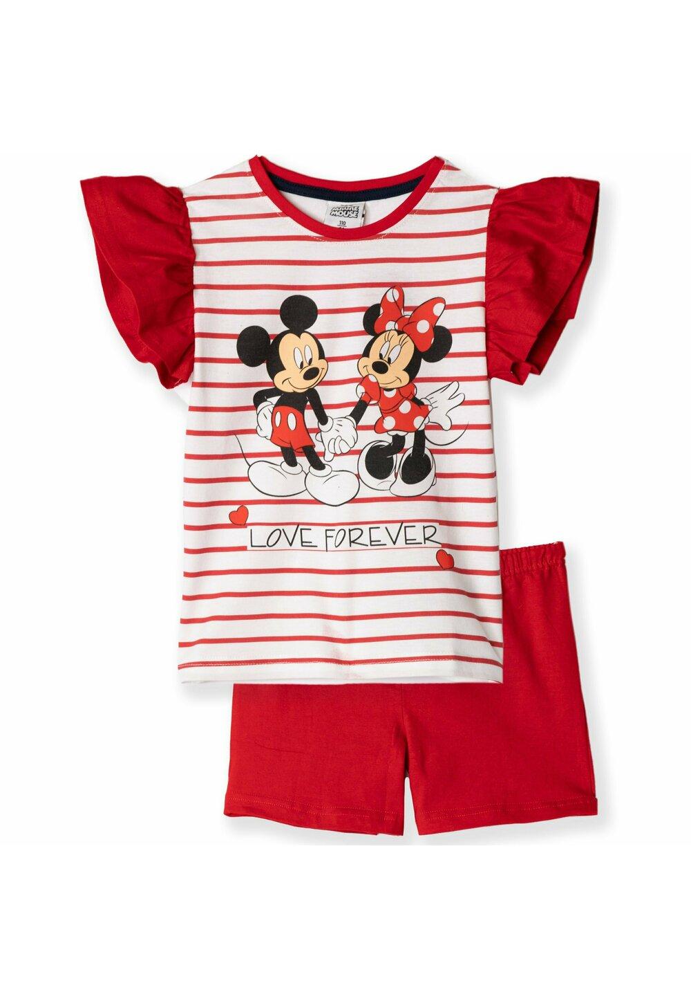 Pijama, maneca scurta, Love forever, rosie imagine