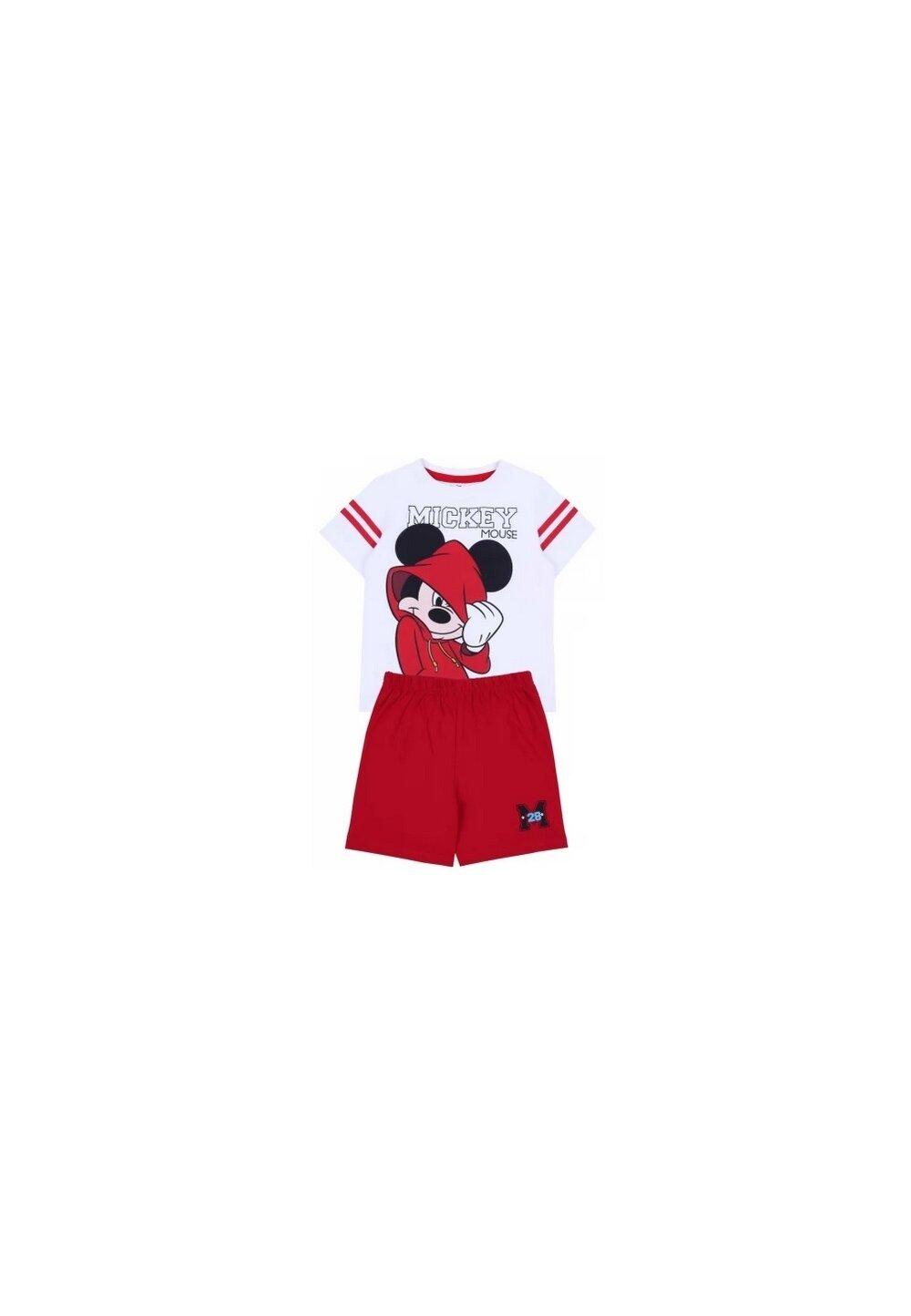 Pijama, maneca scurta, Mickey 28, alb cu rosu imagine