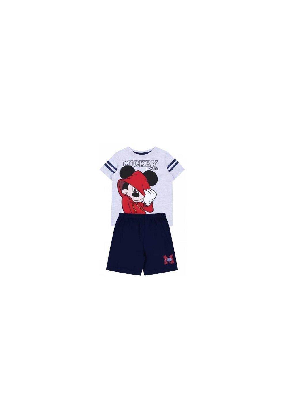 Pijama, maneca scurta, Mickey 28, gri cu bluemarin imagine