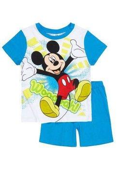 Pijama maneca scurta, Mickey Mouse, albastru cu alb