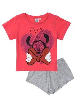 Pijama maneca scurta, Minnie cu fundita, roz