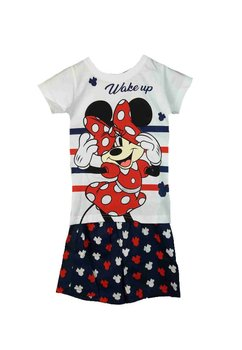 Pijama, maneca scurta, Minnie wake up, alb cu bluemarin