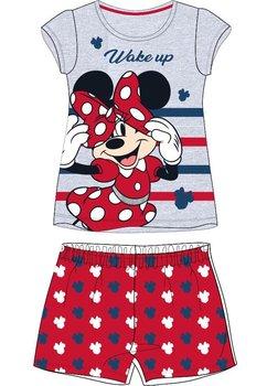 Pijama, maneca scurta, Minnie wake up, gri cu rosu