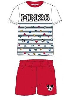 Pijama maneca scurta, MM 28, alb cu rosu