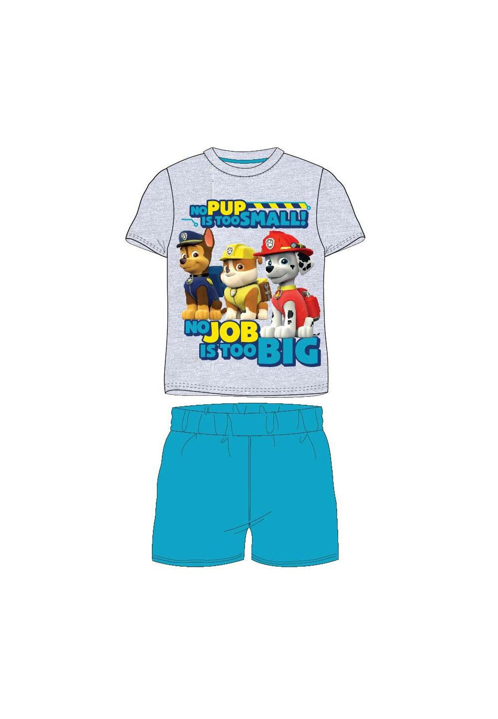 Pijama, maneca scurta, No pup is too small, gri imagine