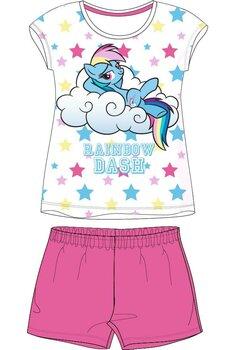 Pijama maneca scurta, Rainbow, roz cu stelute