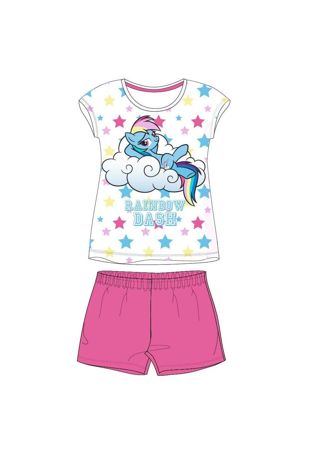 Pijama maneca scurta, Rainbow, roz cu stelute imagine