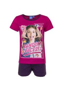 Pijama maneca scurta, roz, Soy Luna, Random faces