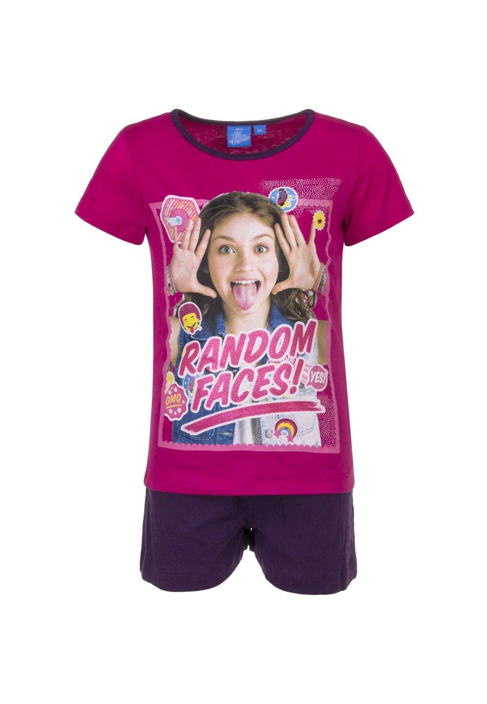 Pijama maneca scurta, roz, Soy Luna, Random faces imagine