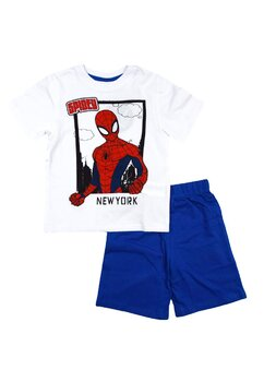 Pijama, maneca scurta, Spidy, albastru cu alb