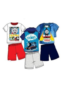 Pijama, maneca scurta, Thomas, albastru cu gri
