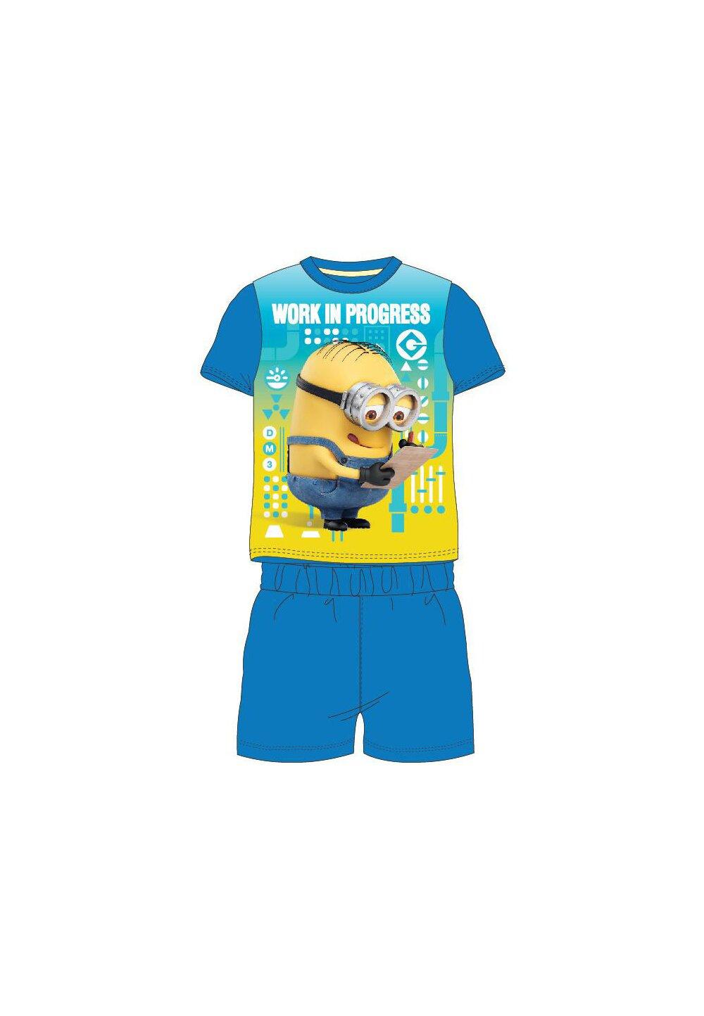 Pijama, maneca scurta, Work in progress, albastru imagine