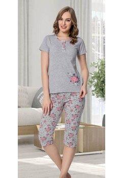 Pijama, pantalon 3/4, gri cu floricele