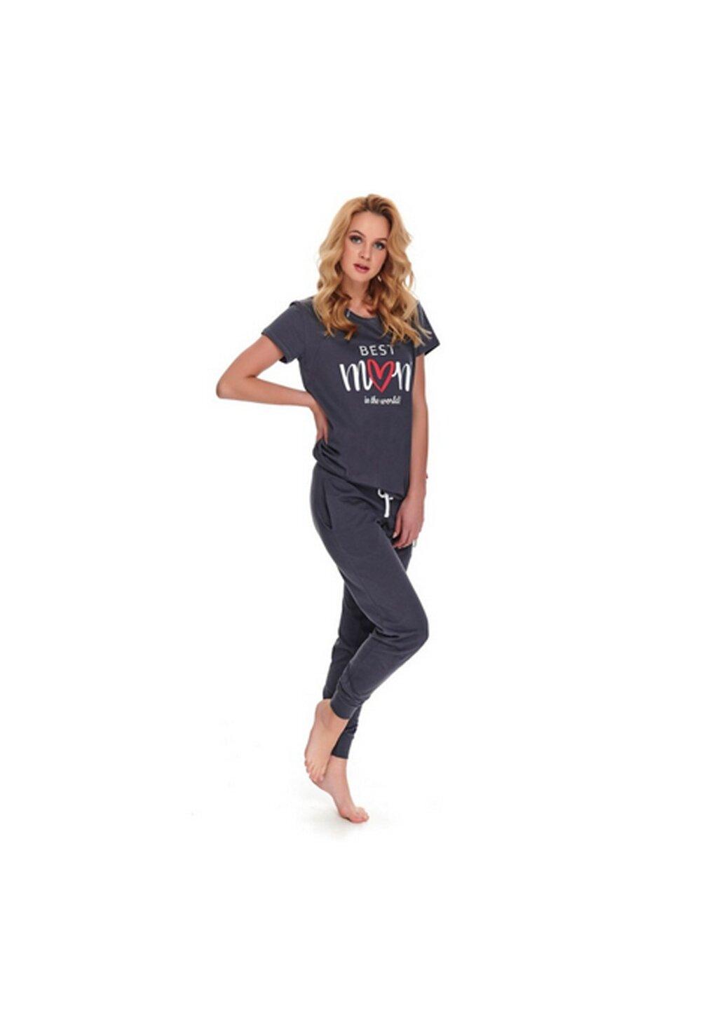 Pijama pentru alaptat, Best Mom in the world, gri inchis imagine