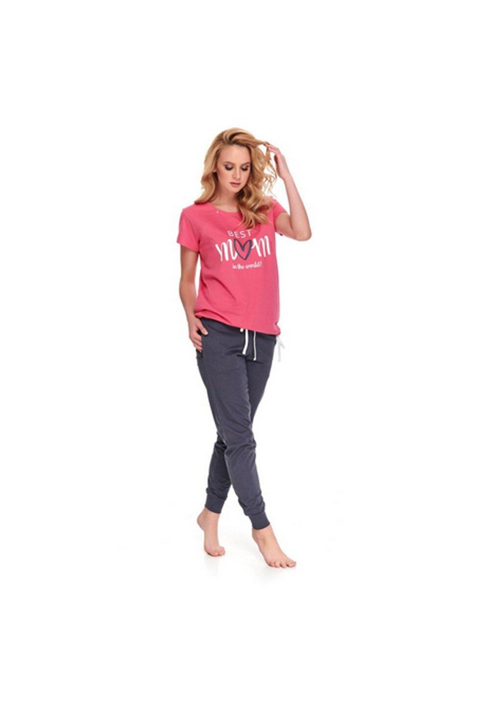 Pijama pentru alaptat, Best Mom in the world, roz cu gri imagine