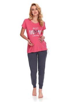 Pijama pentru alaptat, Best Mom in the world, roz cu gri