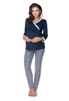 Pijama pentru alaptat, bluemarin cu dungi albe