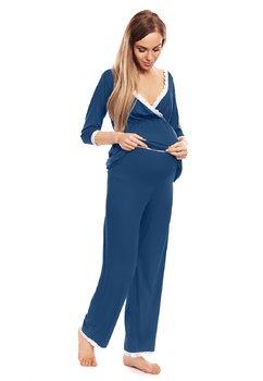 Pijama pentru alaptat, cu dantela, albastra