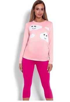 Pijama pentru alaptat, roz cu norisori