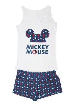 Pijama vara, Mickey Mouse, alb cu stelute