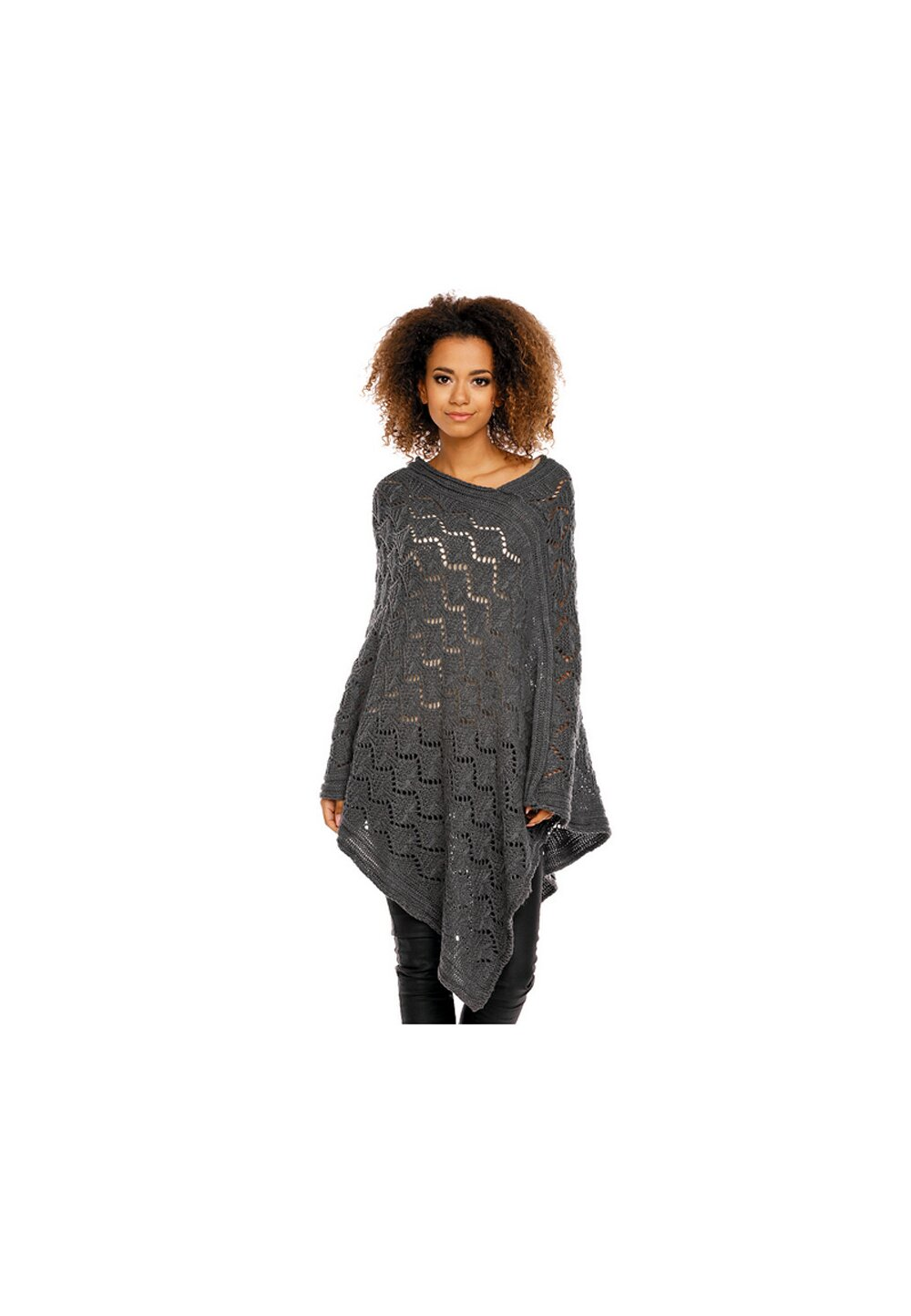 Poncho gri inchis, tricotat imagine
