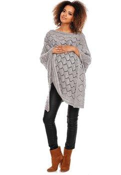 Poncho gri, tricotat