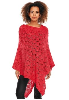Poncho rosu, tricotat