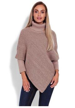 Poncho tricotat, cappuccino