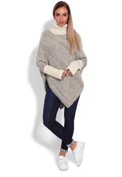 Poncho tricotat, crem cu bluemarin