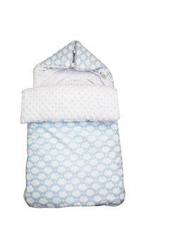 Port bebe, 2in1, minky, albastru cu norisori