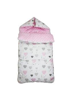 Port bebe, 2in1, minky, roz cu inimioare