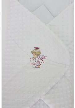 Port bebe multifunctional, minky, alb cu ingeras roz