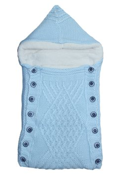 Port bebe, tricotat, albastru deschis, 77x35cm