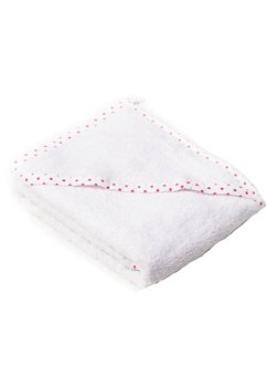 Prosop baie cu gluga, bumbac, alb cu blulinute roz, 75x75cm