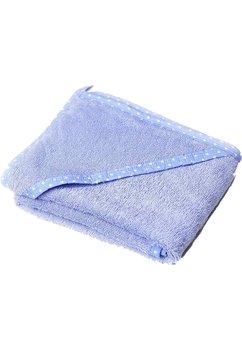 Prosop baie cu gluga, bumbac, albastru cu bulinute albe , 75x75cm