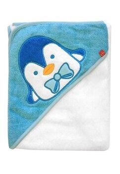 Prosop bumbac 76x76cm, pinguin, albastru