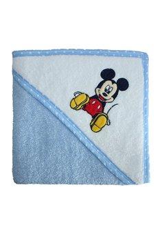 Prosop bumbac, alb cu albastru, Mickey, 80 x 100 cm
