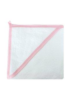 Prosop bumbac, alb cu margine roz, 80 x 100 cm