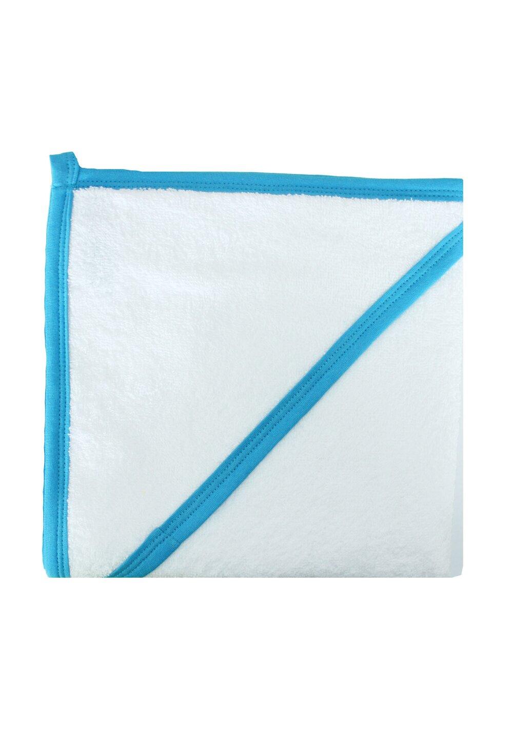 Prosop bumbac, alb cu margine turcoaz, 75 x 75 cm imagine