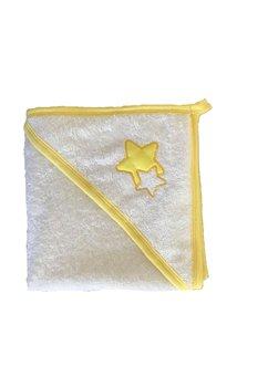 Prosop bumbac, alb cu stelute galbene, 80 x 100 cm