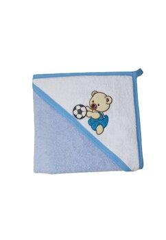 Prosop cu gluga, Baby Bear cu minge, albastru, 80 x 100 cm