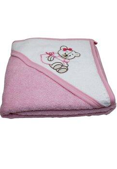 Prosop cu gluga, bumbac, roz, baby bear, 80 x 100 cm