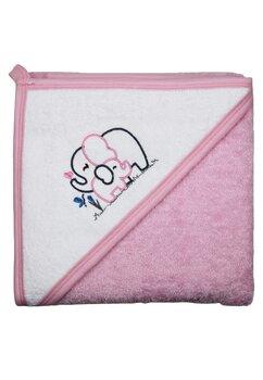 Prosop cu gluga, bumbac, roz cu elefantei, 80 x 100 cm