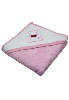 Prosop cu gluga, bumbac, roz, Happy bear, 80 x 100 cm