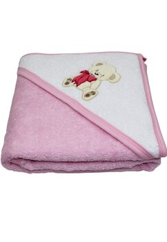 Prosop cu gluga, bumbac, roz, ursulet cu fundita, 80 x 100 cm