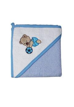 Prosop cu gluga, bumbac, Teddy play football, albastru, 80 x 100 cm